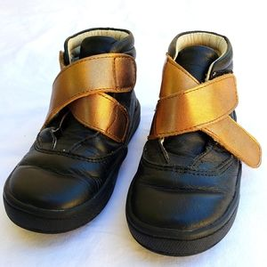 Old Soles Black&Gold Leather Hightop Sneakers, sz2